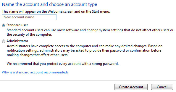 Windows 7 create account
